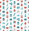 Illustration Seamless Texture With Flat Medical Icons, Endless Backdrop - Vector