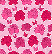 Illustration Seamless Texture With Flowers Roses And Butterflies, Pink Romantic Pattern - Vector