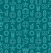 Illustration Seamless Texture With Hand Drawn Vocation Objects And Icons. Summer Pattern. Outline Style - Vector