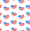 Illustration Seamless Texture Heart For Independence Day Of America, US National Colors - Vector