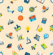 Illustration Seamless Texture With Icons Of Education Item, School Background - Vector