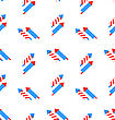 Illustration Seamless Texture Rocket For Independence Day Of America, US National Colors - Vector
