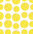 Illustration Seamless Texture With Slices Of Lemons, Repetition Background - Vector stock vector