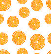 Illustration Seamless Texture With Slices Of Oranges, Juicy Background - Vector