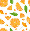 Illustration Seamless Texture With Slices Of Oranges, Vibrant Food Wallpaper - Vector