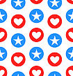 Illustration Seamless Texture Star And Heart For Independence Day Of America, US National Colors - Vector