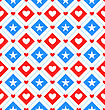 Illustration Seamless Texture Star And Heart In Rhombus For Independence Day Of America, US National Colors - Vector