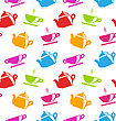 Illustration Seamless Texture With Teapots And Teacups, Colorful Wallpaper - Vector