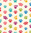 Illustration Seamless Texture With Traces Of Cats, Dogs. Imprints Of Paws Pets - Vector
