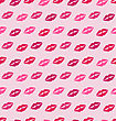Illustration Seamless Texture With Traces Of Kisses, Pink Romantic Pattern - Vector