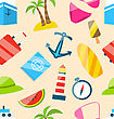 Illustration Seamless Texture Of Travel On Holiday Journey, Summer Flat Icons - Vector