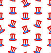 Illustration Seamless Texture With Uncle Sam's Top Hat For American Holidays - Vector