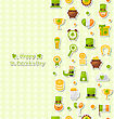 Illustration Seamless Vertical Pattern With Cartoon Colorful Flat Icons For Saint Patrick's Day, Traditional Irish Wallpaper - Vector