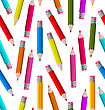 Illustration Seamless Wallpaper With Colorful Pencils - Vector