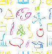 Illustration Seamless Wallpaper With Colorful Set School Objects, Doodle Style- Vector