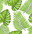 Illustration Seamless Wallpaper With Green Tropical Leaves For Fabric Swatch, Summer Beautiful Texture - Vector