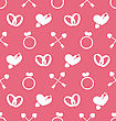 Illustration Seamless Wallpaper With Traditional Objects And Elements For Valentines Day Or Wedding - Vector