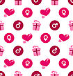 Illustration Seamless Wallpaper With Traditional Objects And Elements For Valentines Day - Vector