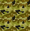 Illustration Seamless Woodland Camo Pattern, Khaki Wallpaper - Vector