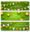 Illustration Set Banners With Bunting Hanging Pennants, Golden Coins, Clovers For St. Patricks Day - Vector
