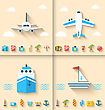 Illustration Set Banners With Flat Icons Of Planning Summer Vacation, Minimal Style With Long Shadow - Vector