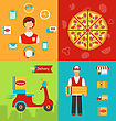 Illustration Set Banners With Pizza Delivery, Perfect Service, Online Order, Fresh Ingredients, Flat Simple Colorful Icons - Vector