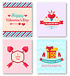 Illustration Set Beautiful Brochures With Traditional Objects For Happy Valentine's Day. Romantic Stickers - Vector