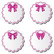 Illustration Set Of Beautiful Cards With Pink Gift Bows - Vector