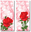 Illustration Set Of Beautiful Cards With Red Roses - Vector