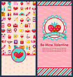 Illustration Set Beautiful Vertical Banners With Romantic Elements For Happy Valentine's Day. Cute Celebration Cards. Templates Brochures - Vector