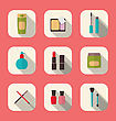 Illustration Set Beauty And Makeup Icons With Long Shadow, Modern Flat Design - Vector