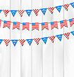 Illustration Set Bunting Pennants For American Independence Day, National Symbolic Decoration - Vector stock illustration