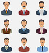Illustration Set Business People, Front Portrait Of Males Isolated On White Background - Vector stock illustration