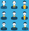 Illustration Set Business People, Front Portrait Of Males Isolated On Blue Background - Vector stock illustration