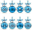 Illustration Set Christmas Blue Shiny Balls With Bow Ribbons And Different Textures, Isolated On White Background - Vector