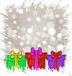 Illustration Set Christmas Gift Boxes On Glowing Background - Vector