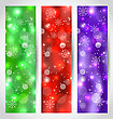 Illustration Set Christmas Glossy Banners With Snowflakes - Vector