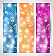 Illustration Set Christmas Glowing Banners With Snowflakes - Vector