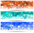 Illustration Set Christmas Glowing Cards With Snowflakes - Vector