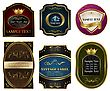 Illustration Set Colored Gold-framed Labels - Vector