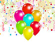 Illustration Set Colorful Balloons And Confetti For Your Party - Vector