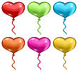 Illustration Set Colorful Balloons In The Shape Of Hearts Isolated On White Background - Vector