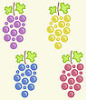 Illustration Set Colorful Bunches Of Grape, Vintage Flat Icons - Vector