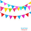 Illustration Set Colorful Buntings Flags Garlands For Holiday - Vector