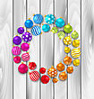 Illustration Set Colorful Christmas Glass Balls On Wooden Background - Vector
