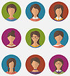 Illustration Set Colorful Female Faces Circle Icons, Trendy Flat Style - Vector