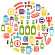 Illustration Set Colorful Icons Of Beers And Snacks, Isolated On White Background - Vector