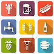 Illustration Set Colorful Icons Of Beers And Snacks, Long Shadows Style - Vector
