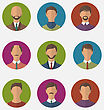Illustration Set Colorful Male Faces Circle Icons, Trendy Flat Style - Vector