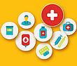Illustration Set Colorful Medical Icons For Your Design - Vector